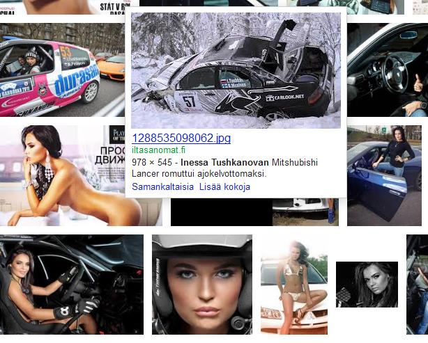 Kuvahaku rallikuski Inessa Tushkanovasta tuo tulokseksi myös muutamia ralliaiheisia kuvia.