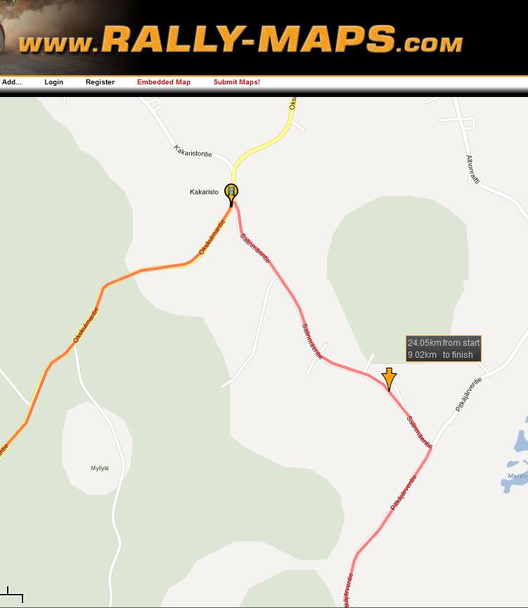 RG1:n mukaan Ouninpohja ajetaan tänä vuonna samanmittaisena kuin viime vuonna. Rally-maps.comin kartassa suunniteltu uusi hyppyri sijoittuisi nuolen osoittamaan kohtaan.